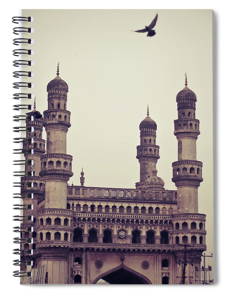 Tranquility Spiral Notebook featuring the photograph Charminar And The Pigeon by © Manogna Reddy