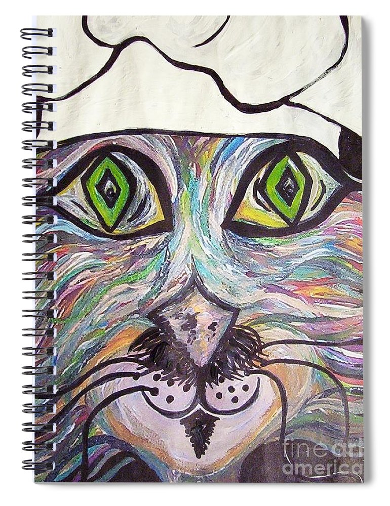 Professional Spiral Notebook featuring the painting Chef Pierre ... A Cat With Good Taste by Eloise Schneider Mote