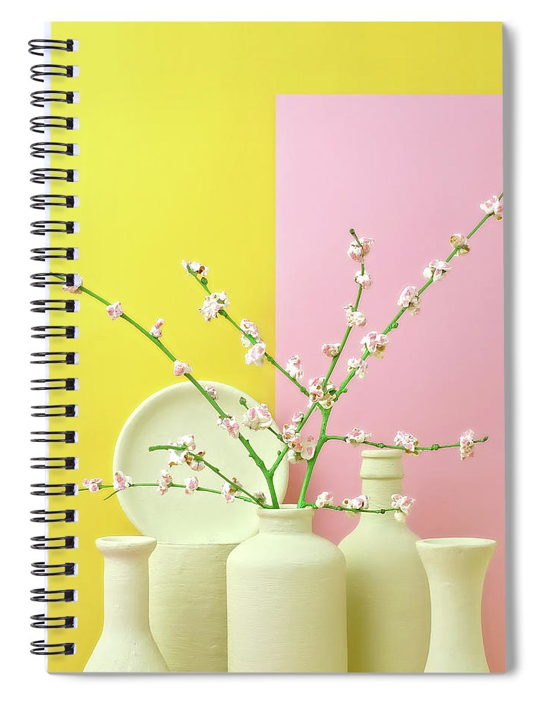 Out Of Context Spiral Notebook featuring the photograph Cherry Blossom Popcorn In Monochromatic by Juj Winn