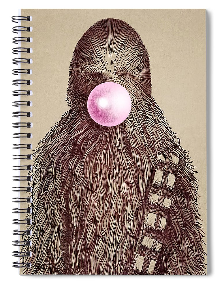 Bubblegum Spiral Notebook featuring the drawing Big Chew by Eric Fan