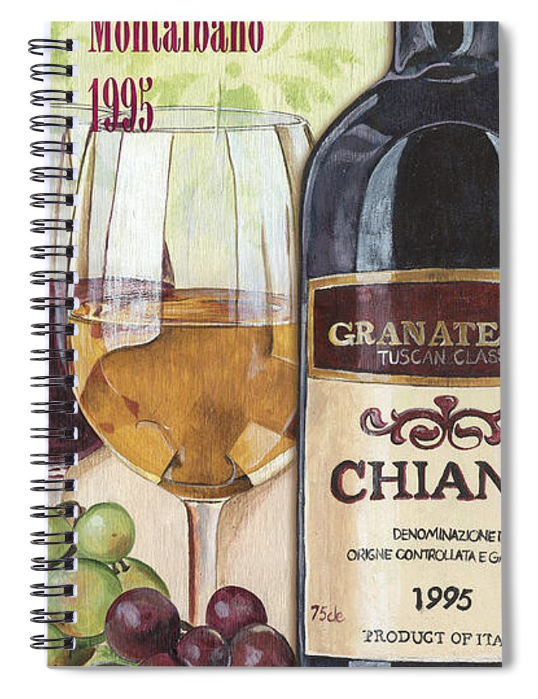 Wine Spiral Notebook featuring the painting Chianti Rufina by Debbie DeWitt
