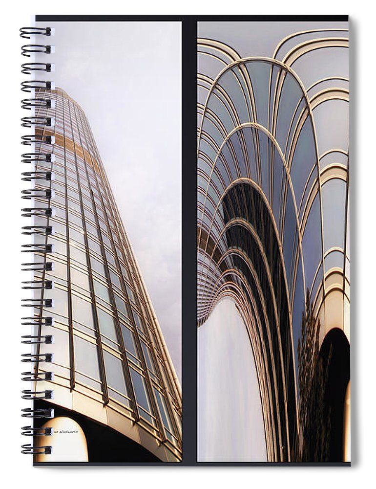 Chicago Spiral Notebook featuring the photograph Chicago Abstract Before And After Sunrays On Trump Tower 2 Panel by Thomas Woolworth