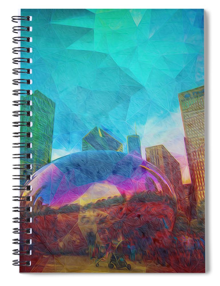 Chicago Whitesox Spiral Notebook featuring the photograph Chicago Bean Skyline Illinois Digital Paint by David Haskett II