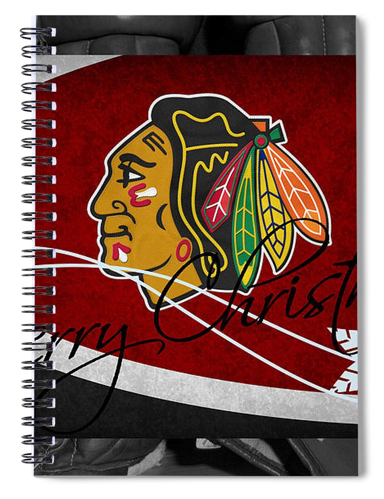 blackhawks spiral notebook featuring the photograph chicago blackhawks christmas by joe hamilton - Blackhawks Christmas