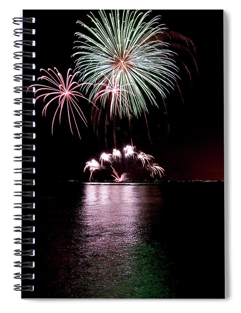Lake Michigan Spiral Notebook featuring the photograph Chicago Fireworks by 400tmax