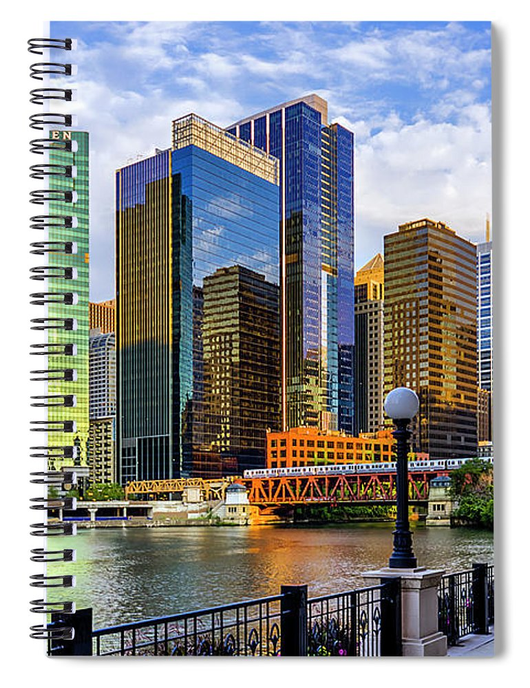 Chicago River Spiral Notebook featuring the photograph Chicago River & Willis Tower by Carl Larson Photography