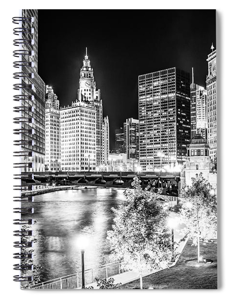America Spiral Notebook featuring the photograph Chicago River Buildings at Night in Black and White by Paul Velgos