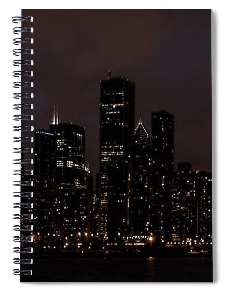 Chicago Spiral Notebook featuring the photograph Chicago Skyline At Night by Ken Smith