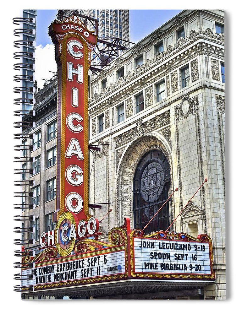 Chicago Spiral Notebook featuring the photograph Chicago Theater by Frozen in Time Fine Art Photography