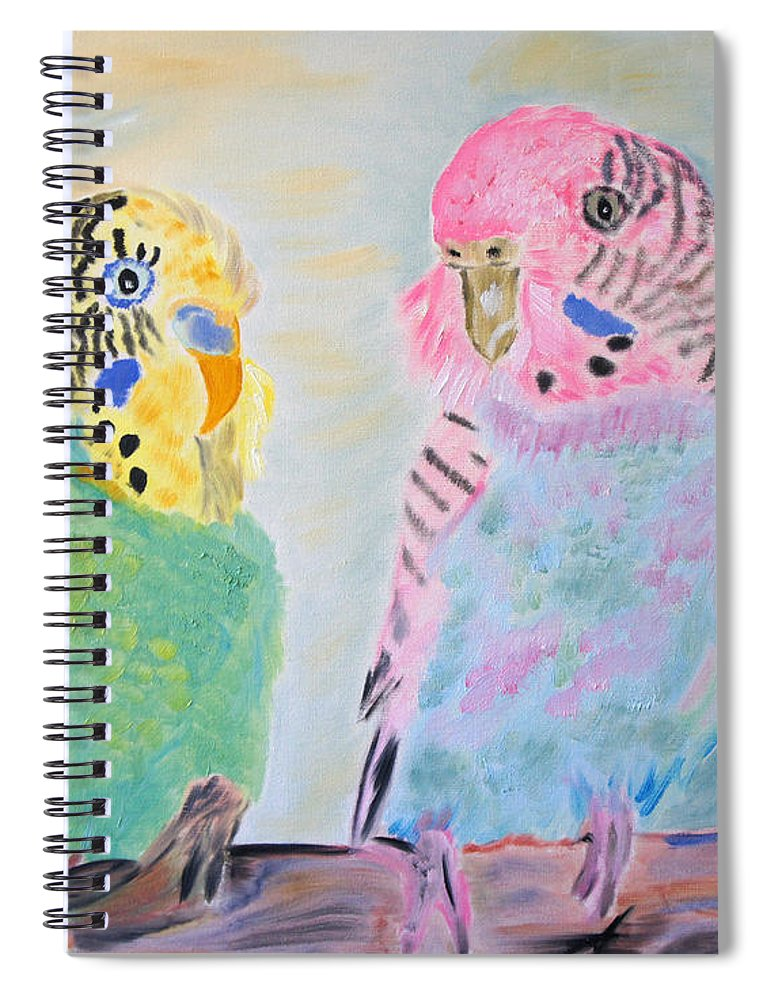 Parakeets Spiral Notebook featuring the painting Childhood Parakeets by Meryl Goudey