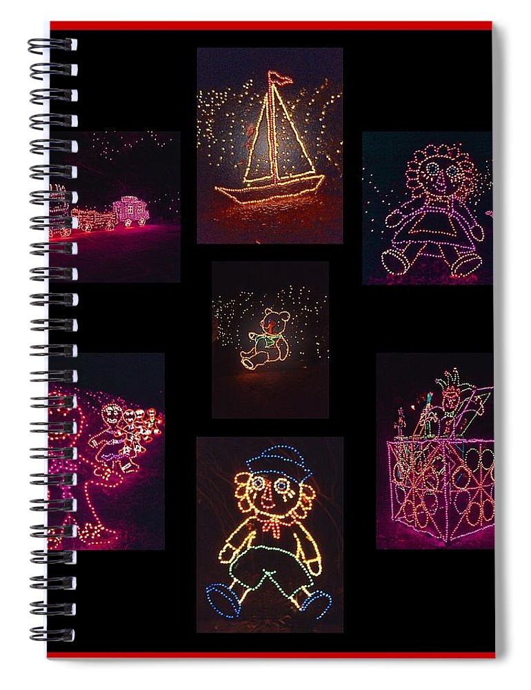 Digital Art Spiral Notebook featuring the photograph Children's Toys In Lights Poster 2 by Marian Bell