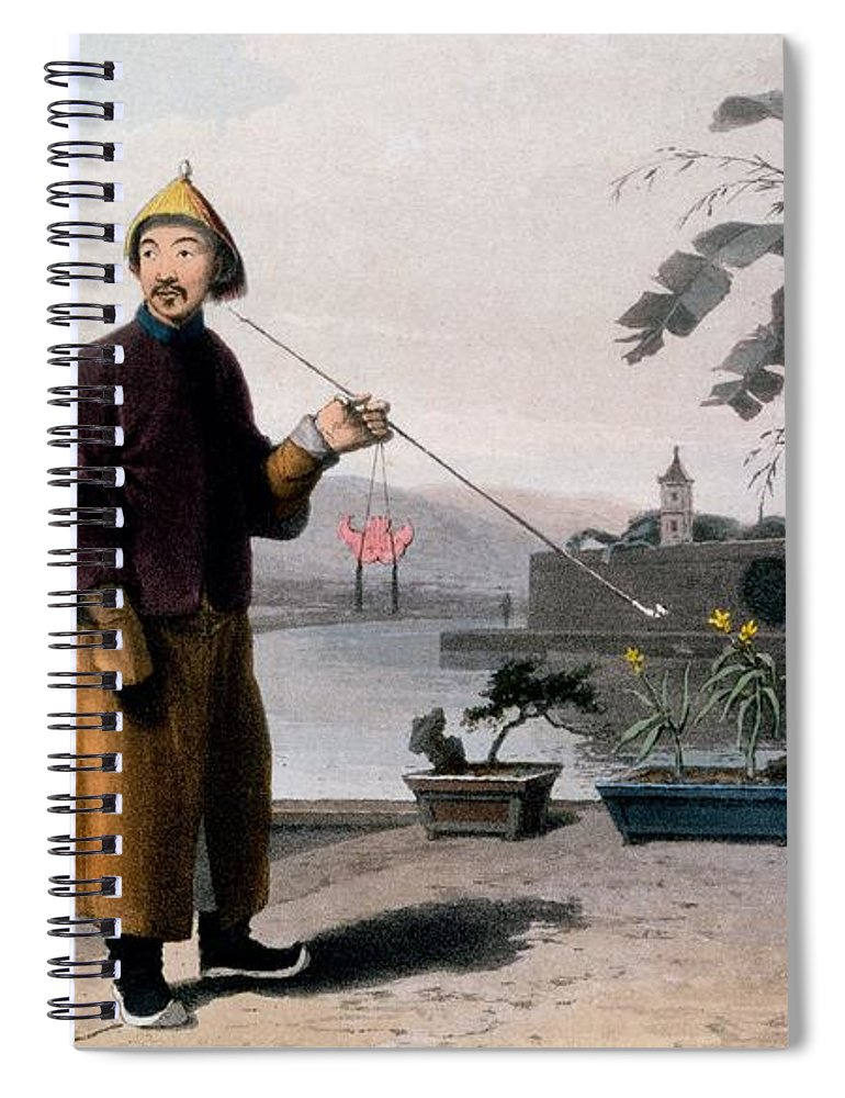Male Spiral Notebook featuring the drawing Chinese Gentleman, From A Picturesque by Thomas & William Daniell
