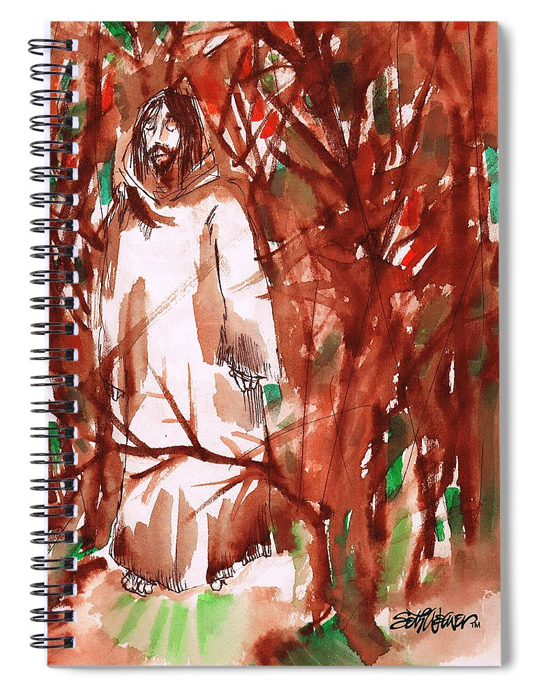 Christ In The Garden Spiral Notebook featuring the painting Christ in the Forest by Seth Weaver