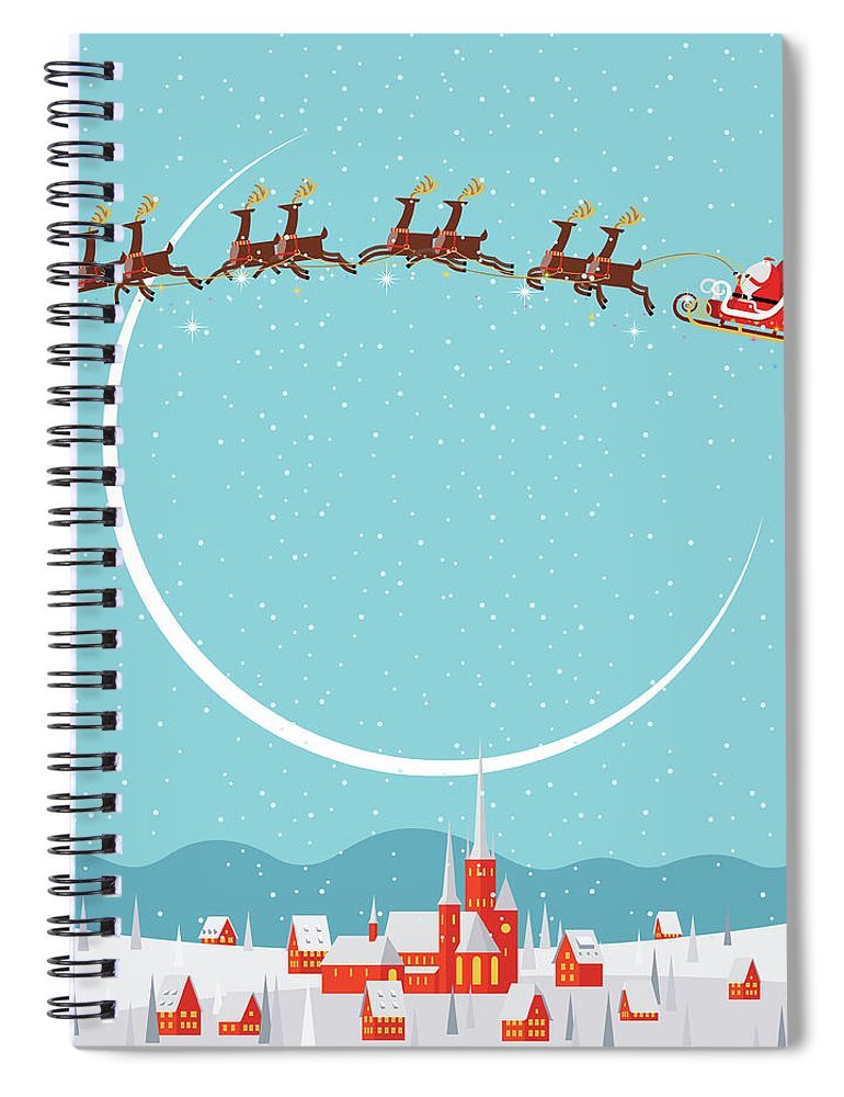 Holiday Spiral Notebook featuring the digital art Christmas Background by Akindo