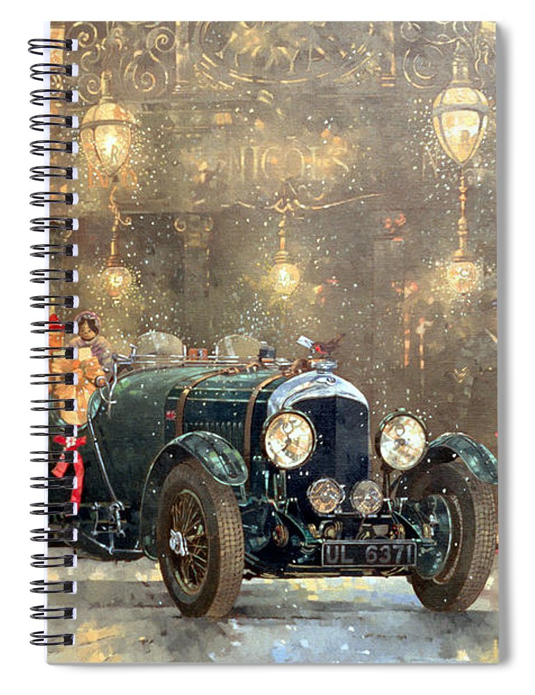 Motor Car Spiral Notebook featuring the painting Christmas Bentley by Peter Miller