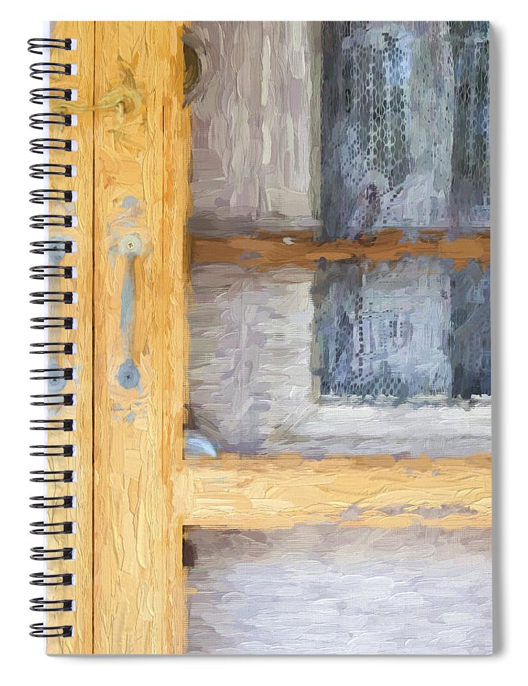 Curtains Spiral Notebook featuring the photograph Church Camp House Detail Painterly Series 14 by Carol Leigh