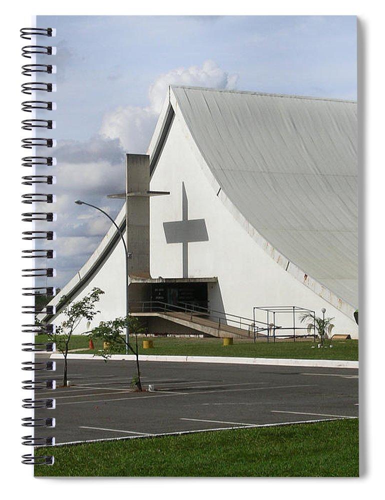 Brazil Spiral Notebook featuring the digital art Church In Brazilia by Carol Ailles