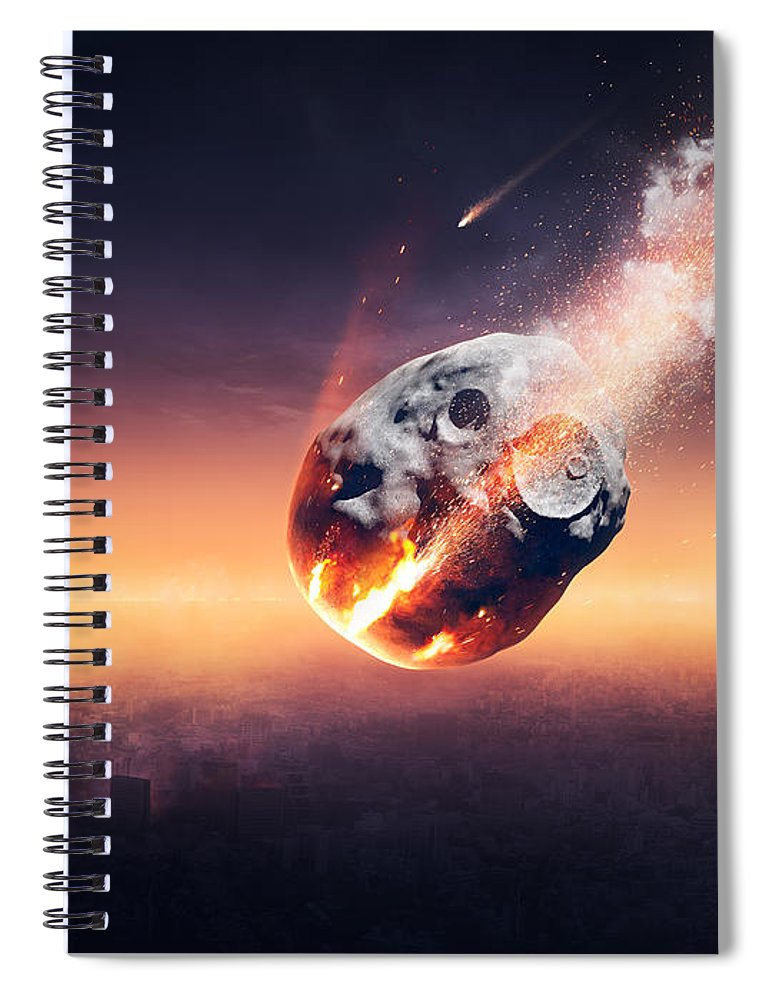 City Spiral Notebook featuring the photograph City Destroyed By Meteor Shower by Johan Swanepoel