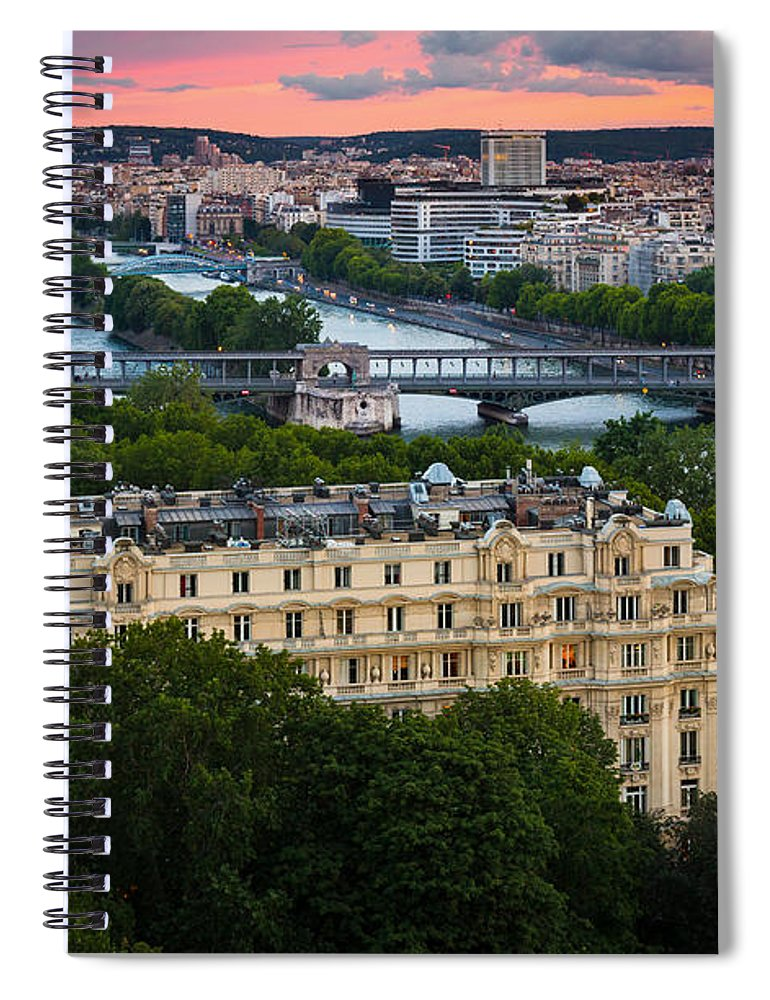 Eiffel Spiral Notebook featuring the photograph City Of Light by Inge Johnsson