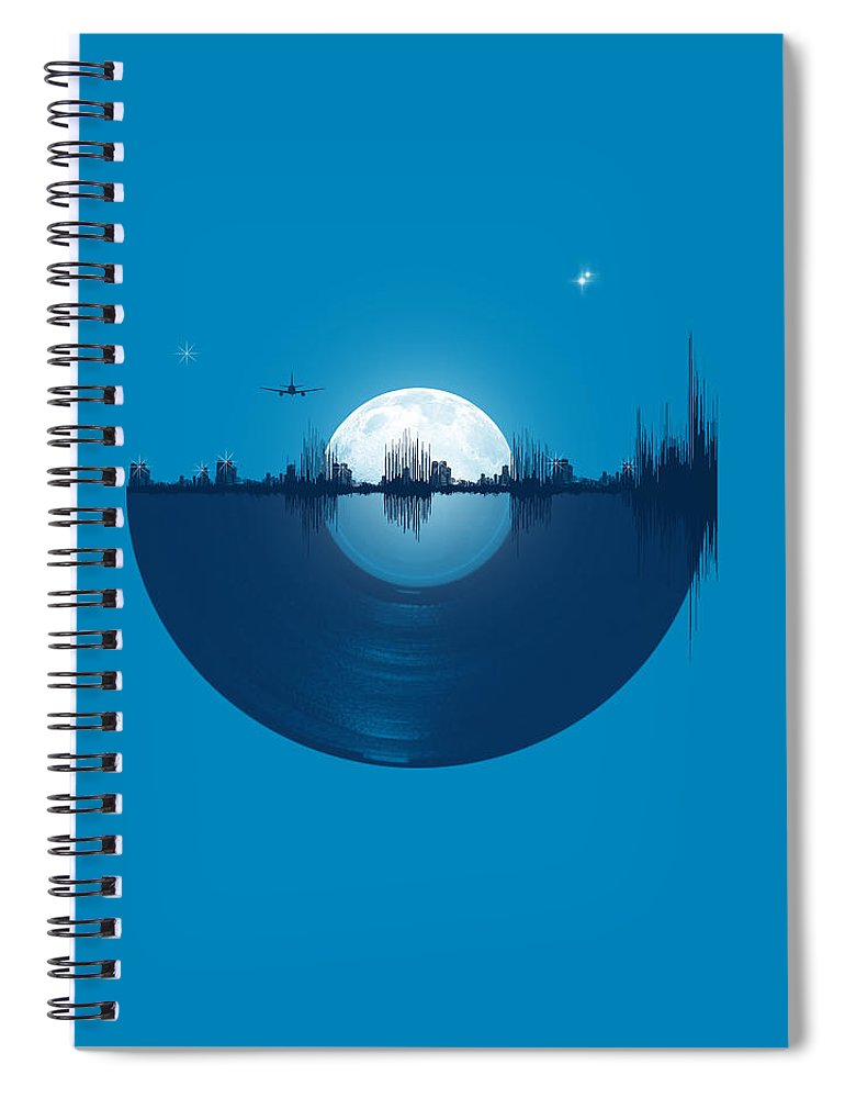 City Spiral Notebook featuring the digital art City tunes by Neelanjana Bandyopadhyay