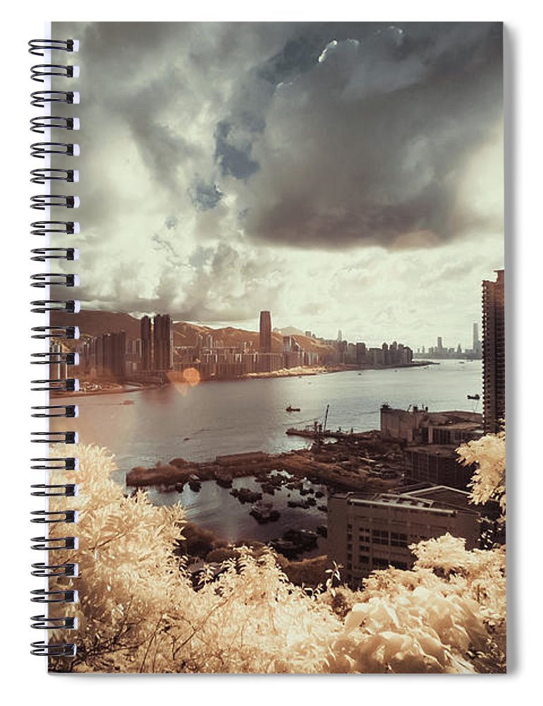 Treetop Spiral Notebook featuring the photograph Cityscape In Dream by D3sign