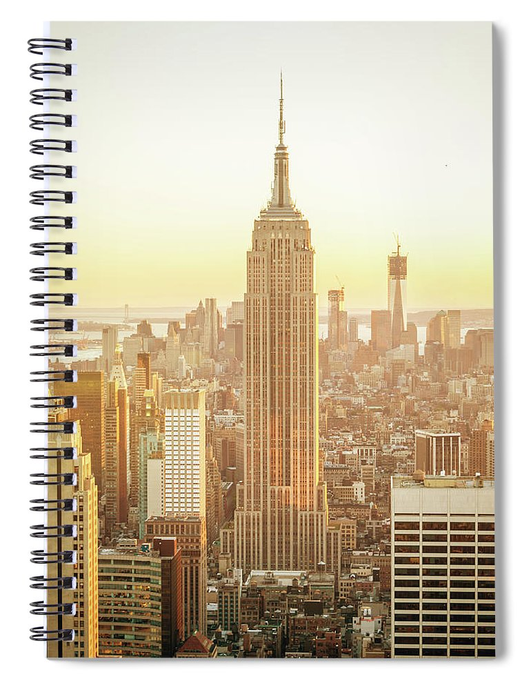 Scenics Spiral Notebook featuring the photograph Cityscape Manhattan Sunset New York by Mlenny