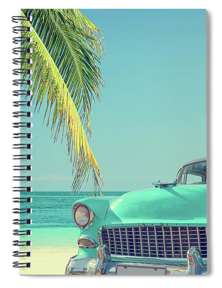 Scenics Spiral Notebook featuring the photograph Classic Car On A Tropical Beach With by Delpixart