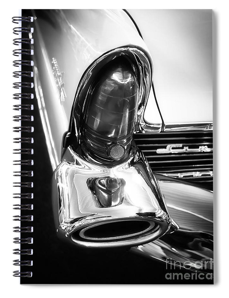 Black Spiral Notebook featuring the photograph Classic Car Tail Fin by Edward Fielding