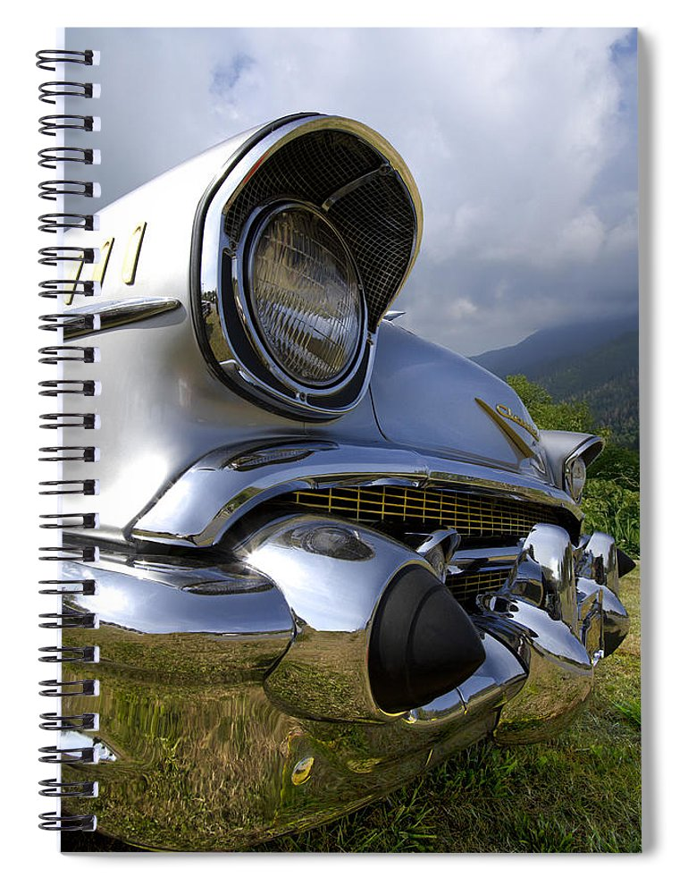 57 Spiral Notebook featuring the photograph Classic Chevrolet by Debra and Dave Vanderlaan