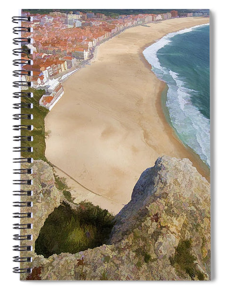 Beach Spiral Notebook featuring the photograph Cliff Of The Seaside Village Of Nazare by David Letts