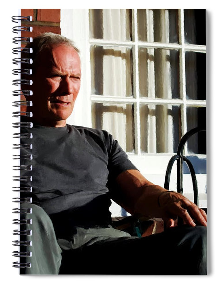 Clint Eastwood Spiral Notebook featuring the digital art Clint Eastwood @ Grand Torino- 2 by Gabriel T Toro