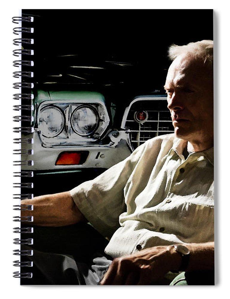 Clint Eastwood Spiral Notebook featuring the digital art Clint Eastwood as Walt Kowalski in the film Grand Torino - Clint Eastwood - 2008 by Gabriel T Toro
