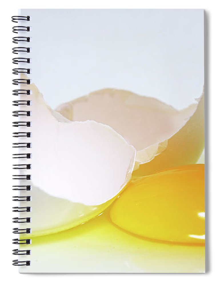 White Background Spiral Notebook featuring the photograph Close-up Of A Broken Egg On White by Zen Rial