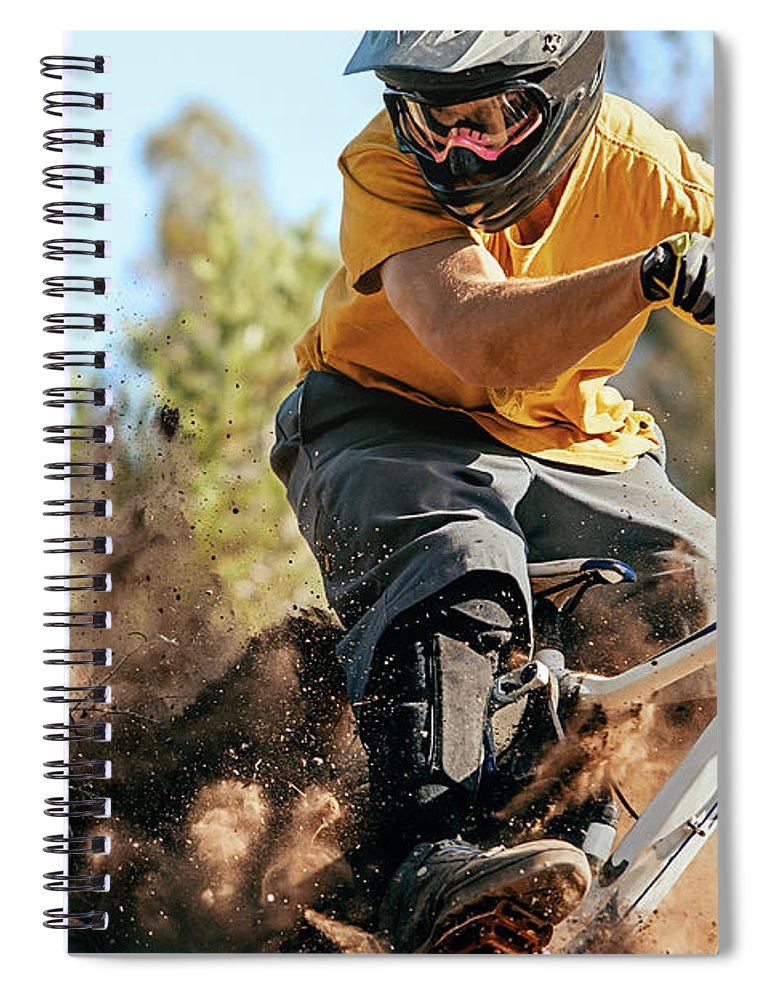 Headwear Spiral Notebook featuring the photograph Close Up Of A Mountain Biker Ripping by Daniel Milchev