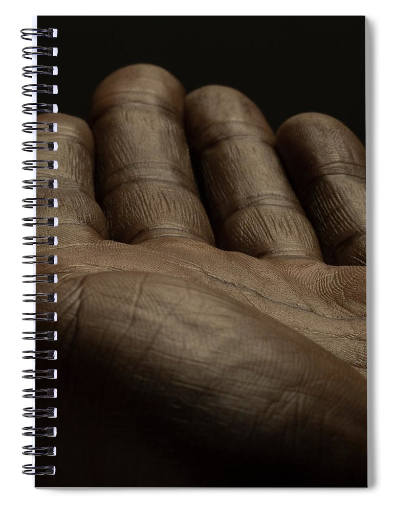 Empty Spiral Notebook featuring the photograph Close Up Of An Open Male Hands, Dark by Jonathan Knowles