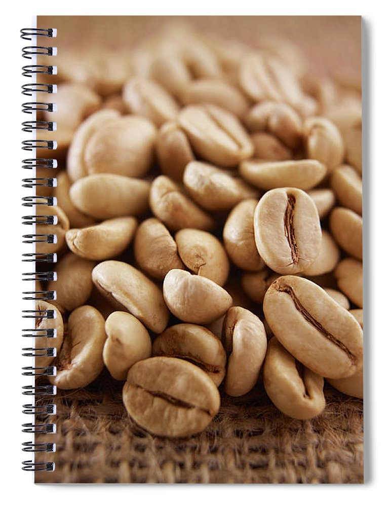 Heap Spiral Notebook featuring the photograph Close Up Of Raw Coffee Beans by Adam Gault