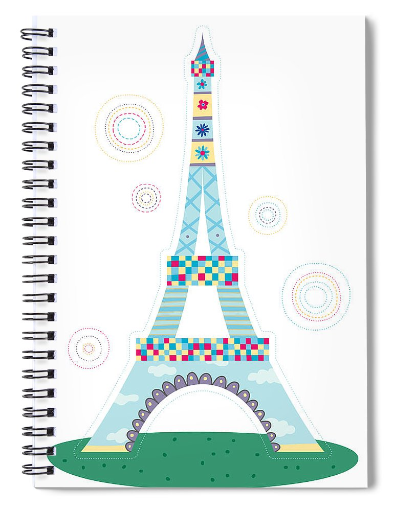 Event Spiral Notebook featuring the digital art Close-up Of Tower by Eastnine Inc.