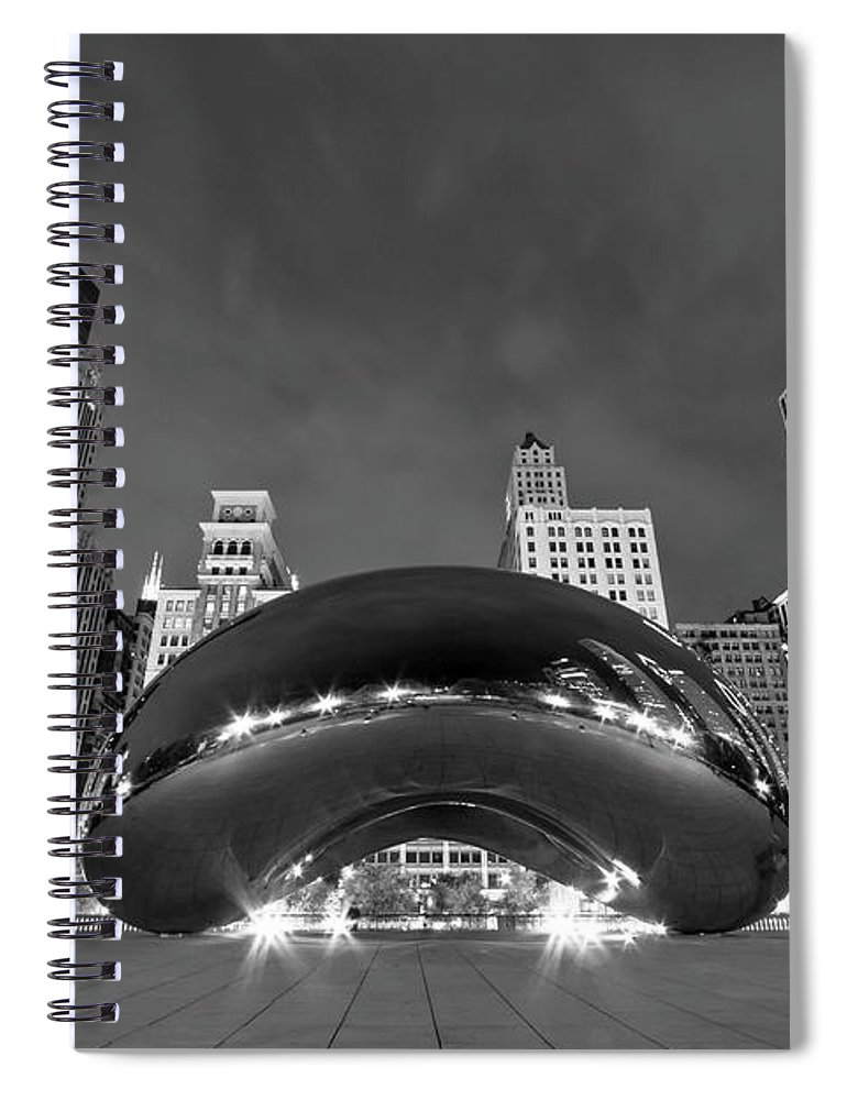 3scape Spiral Notebook featuring the photograph Cloud Gate and Skyline by Adam Romanowicz