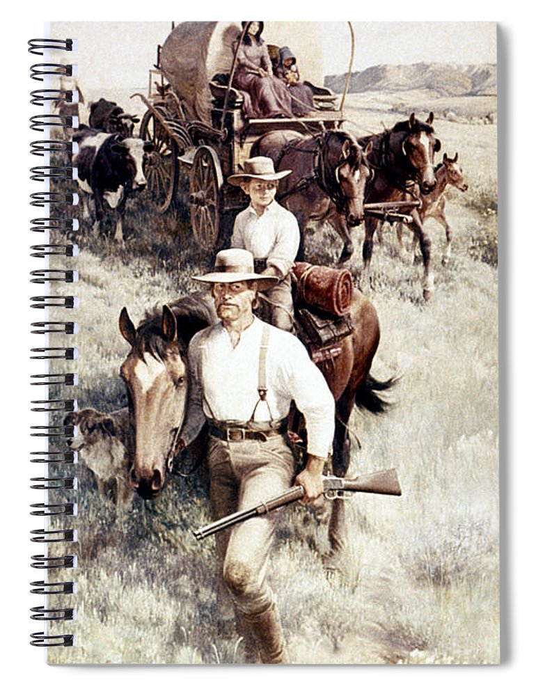19th Century Spiral Notebook featuring the painting Clymer Homesteaders by Granger