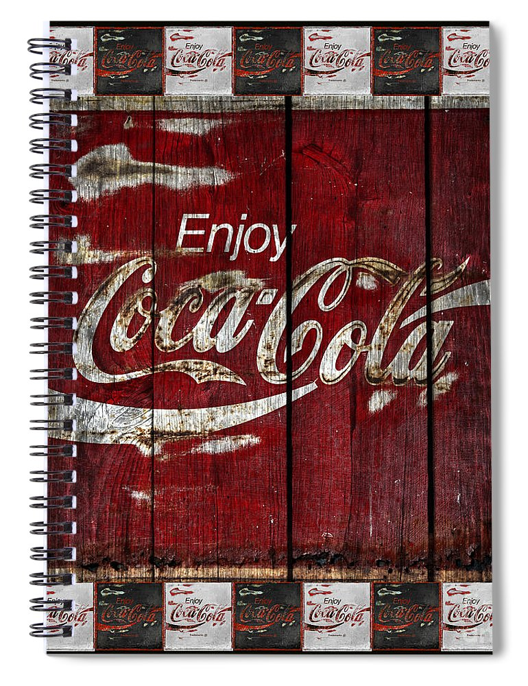 Coca Cola Spiral Notebook featuring the photograph Coca Cola Sign With Little Cokes Border by John Stephens
