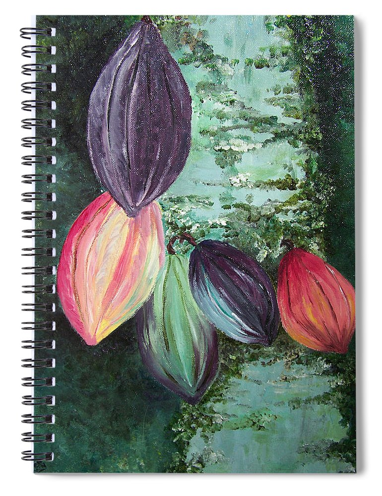 Cocoa On The Tree Spiral Notebook featuring the painting Cocoa Pods by Karin Dawn Kelshall- Best