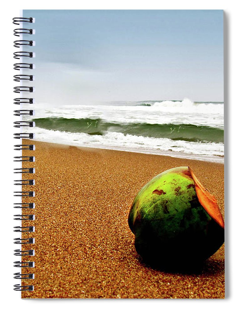Tranquility Spiral Notebook featuring the photograph Coconut On Sandy Beach With Waves And by Amlan Mathur