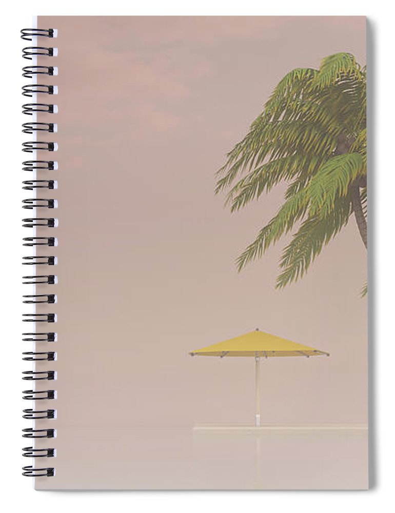 Tranquility Spiral Notebook featuring the digital art Coconut Palm And Sunshade In Haze, 3d by Westend61