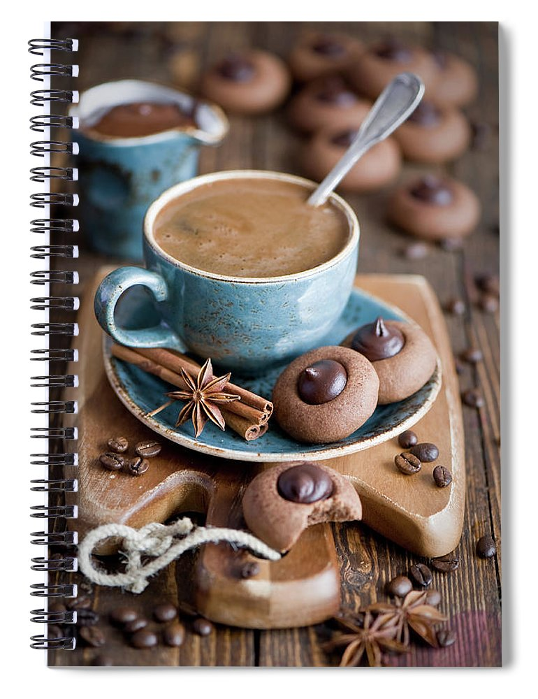 Temptation Spiral Notebook featuring the photograph Coffee And Cookies by Verdina Anna