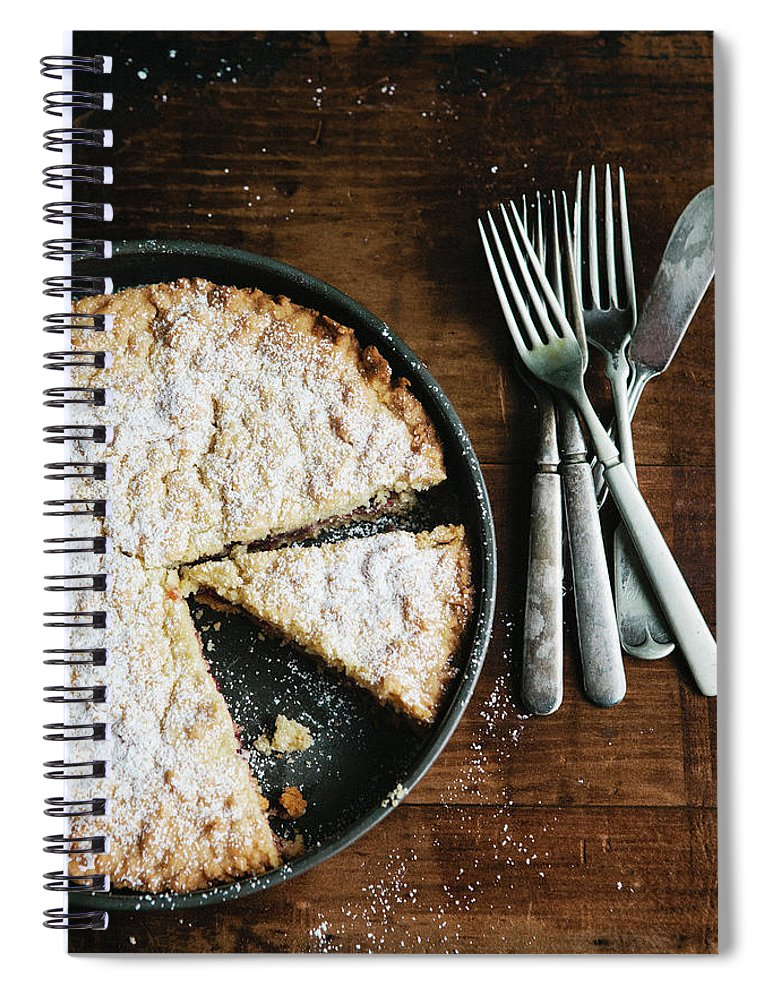 Kitchen Knife Spiral Notebook featuring the photograph Coffee Cake In Rustic Pan With Forks by Alina Spradley