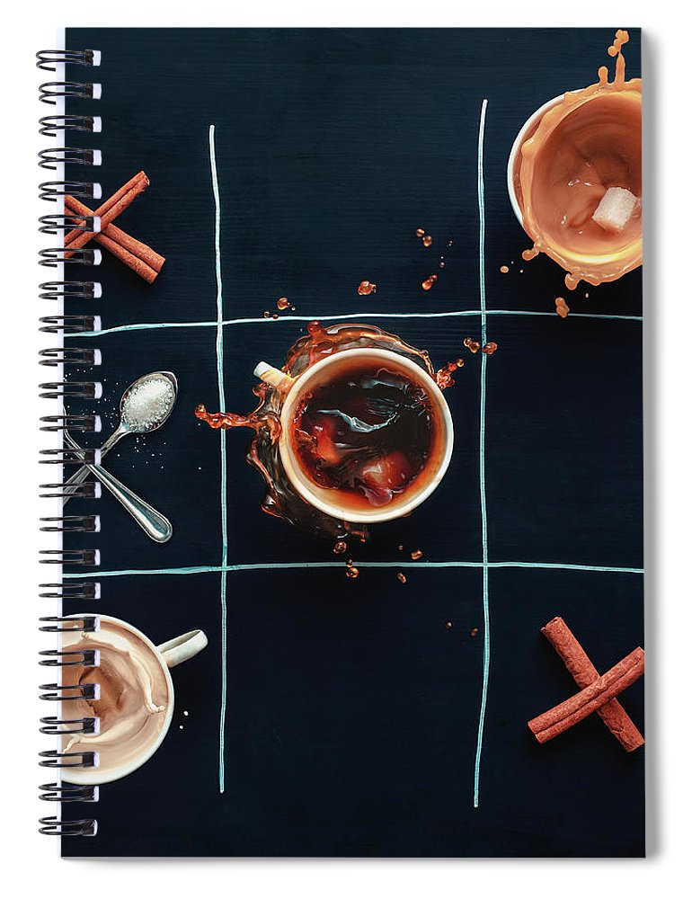 Milk Spiral Notebook featuring the photograph Coffee Tic-tac-toe by Dina Belenko Photography