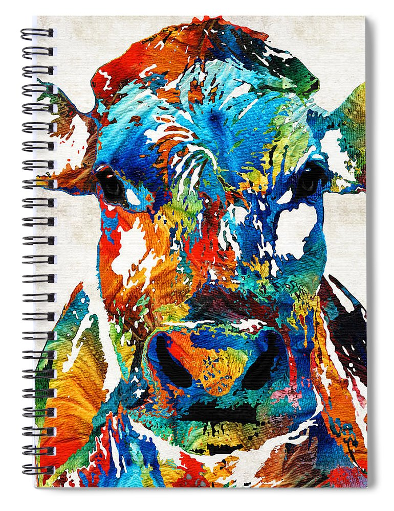 Bull Spiral Notebook featuring the painting Colorful Cow Art - Mootown - By Sharon Cummings by Sharon Cummings