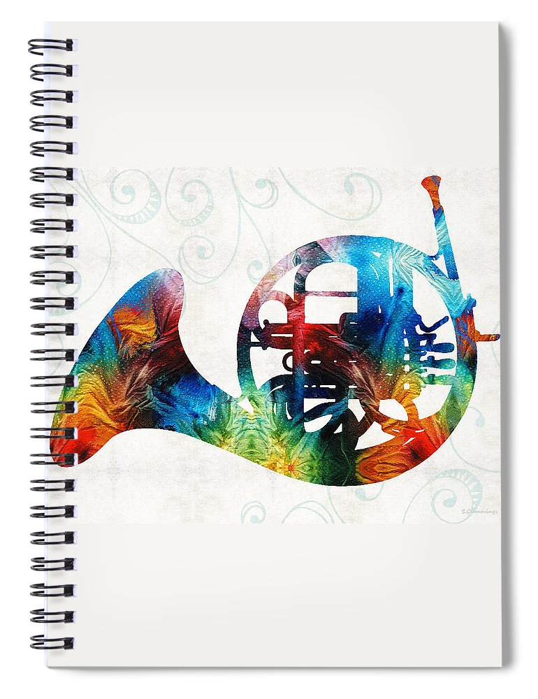 French Horn Spiral Notebook featuring the painting Colorful French Horn - Color Fusion By Sharon Cummings by Sharon Cummings