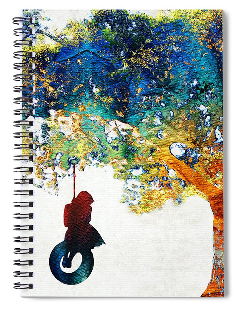 Tree Spiral Notebook featuring the painting Colorful Landscape Art - The Dreaming Tree - By Sharon Cummings by Sharon Cummings