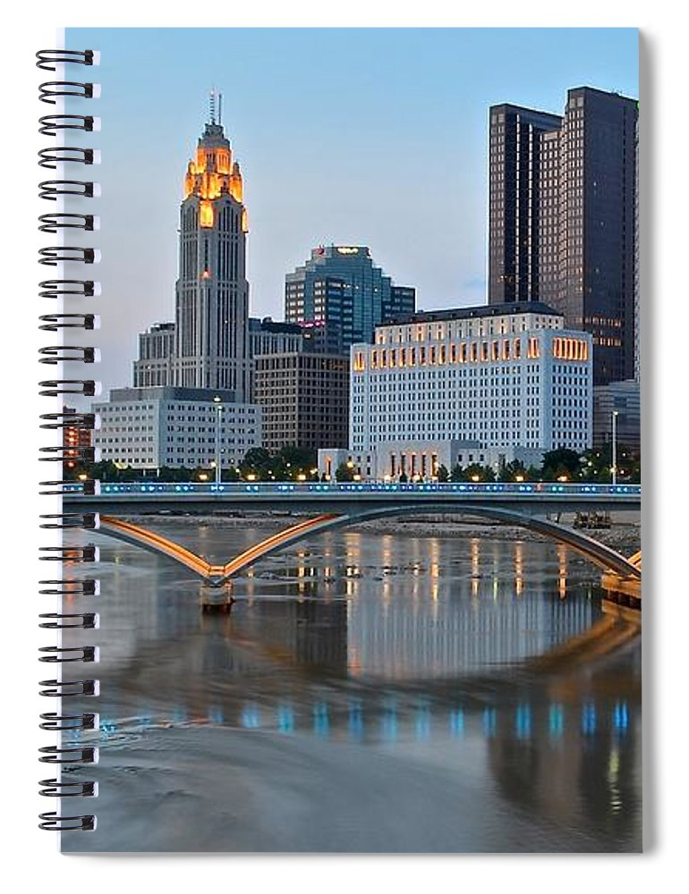 Columbus Spiral Notebook featuring the photograph Columbus Ohio As The Lights Come On by Frozen in Time Fine Art Photography
